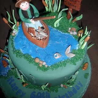 man fishing in a boat birthday cake