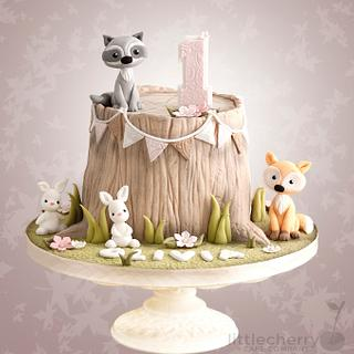 Woodland Animal Tree Stump Cake