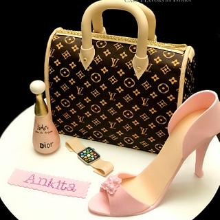Designer purse n shoe cake