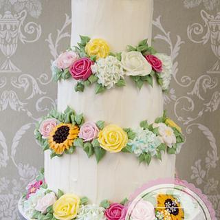 3 Tier Buttercream Flowers Wedding Cake by Windsor Cake Studio