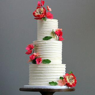 Rustic Buttercream Wedding Cake with Sugar Flowers