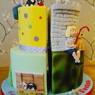 Half and half birthday cake