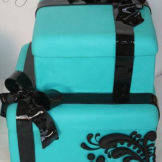 Stacked boxes cake