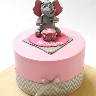 whipped cream Baby elephant themed cake