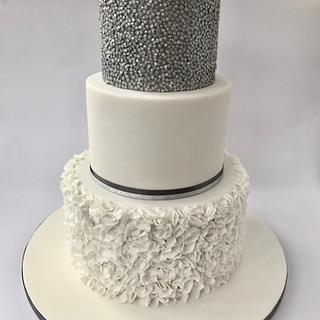 Sequins and Ruffles Wedding Cake - Cake by Canoodle Cake Company