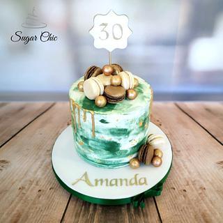 x Green & Gold Marble Buttercream Cake x