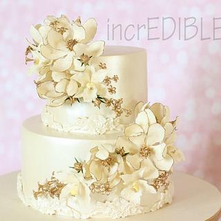 """Gleaming Light""- Two Tier Wedding Cake"