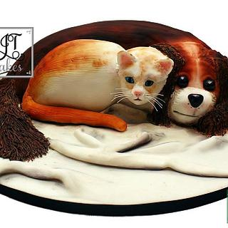 Carved cake. Best friend's cake collaboration