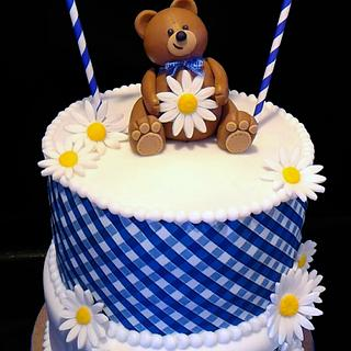 Teddy Bear Gingham Baby Shower Cake