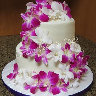 Orchid Wedding - Cake by Creative Cakes by Chris