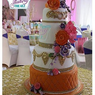 Fun vintage wedding cake