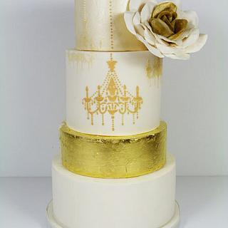 Gold leaf and Chandelier wedding cake