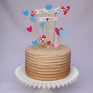 Brown Ombre Birthday Cake with Topper - Cake by blancs