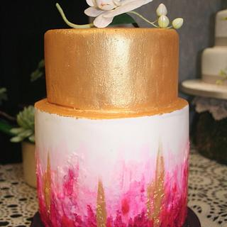 Pink & Gold Abstract Wedding Cake