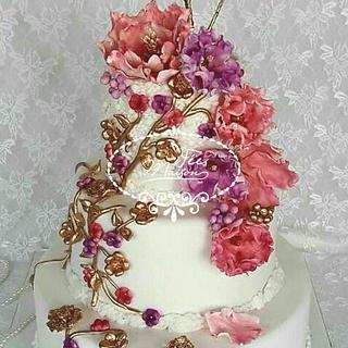 Flowery Engagement Cake