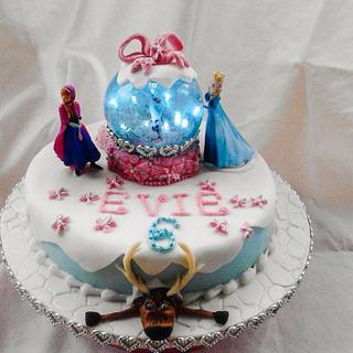 Frozen light up snow globe cake