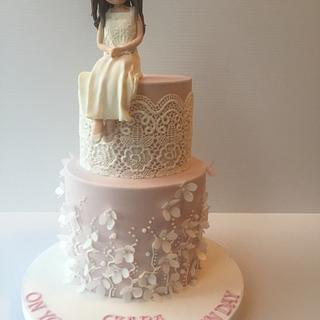 Pretty communion cake - Cake by Claire Lynch - Quirky Cake Designs
