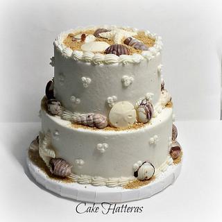 A Simple Beach Wedding Cake - Cake by Donna Tokazowski- Cake Hatteras, Hatteras N.C.