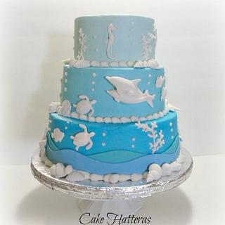 Ombre Beach Wedding Cake - Cake by Donna Tokazowski- Cake Hatteras, Hatteras N.C.