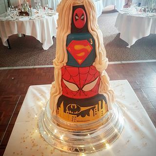Super hero reveal wedding cake - Cake by Stacys cakes