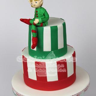 Elf Xmas Cake - charity raffle cake