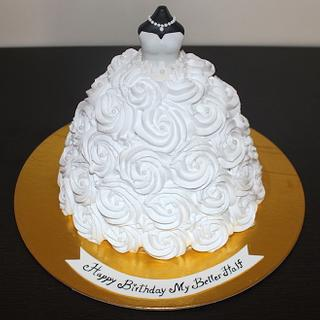 Customized designer cake for a newly wed brides birthday