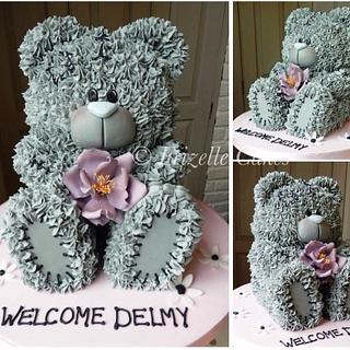 Blushing Teddy Cake - Cake by Frizellecakes