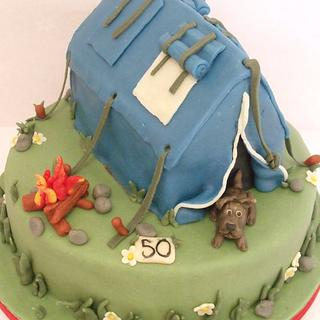marzipan camping cake