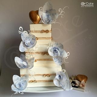 Vintage Nautical Maps Wedding Cake  - Cake by maria antonietta motta - arcake -