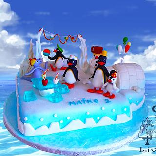 penguins- birthday cake