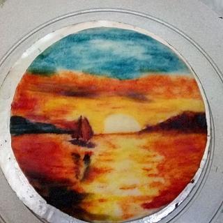 sun lying on the sea - Cake by aayotee mukhopadhyay