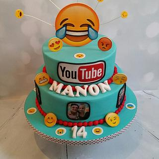 Youtube/emoji cake