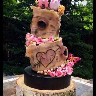 Topsy turvy outdoorsy wedding cake