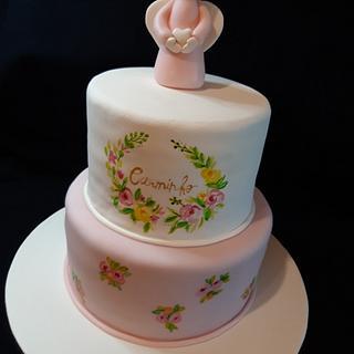 Hanpainted Christening cake