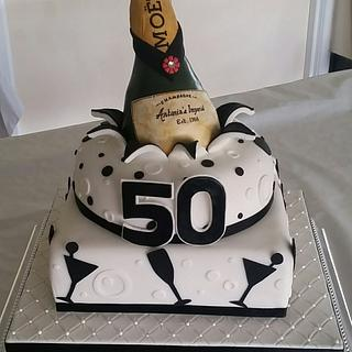 Champagne Burst Birthday Cake