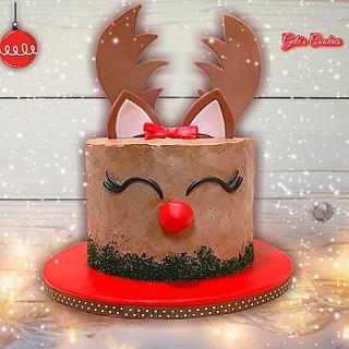 Red nose reindeer cake