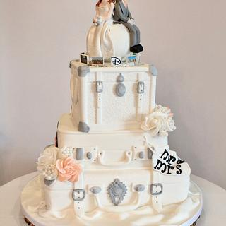 3-tier Suitcase Travel Themed Wedding Cake