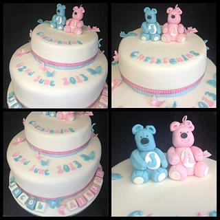 My first double christening cake