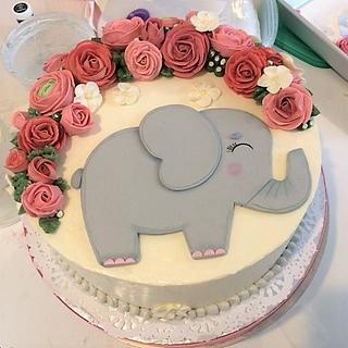 Elephant and roses baby girl shower cake