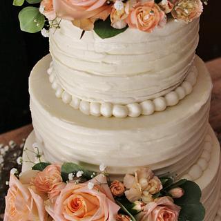 buttercream peach wedding cake - Cake by Nancys Fancys Cakes & Catering (Nancy Goolsby)