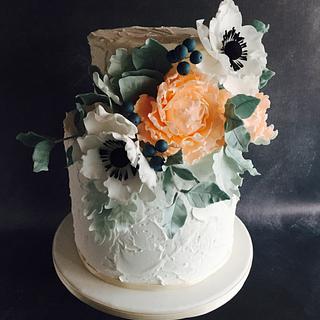 Large Blossom Wedding Cake - Cake by Una's Cake Studio