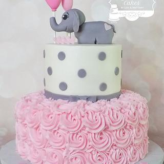 Elephant & Roses - Cake by Sugar Sweet Cakes