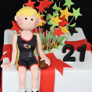 21st Birthday - Exploding Stars and Gumpaste Figurine
