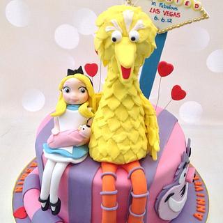Big Bird and Alice in Wonderland Anniversary cake