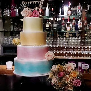 Watercolor Wedding Cake
