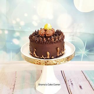 Golden Nutella chocolate drip cake