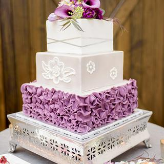 Plum Ruffled Wedding Cake