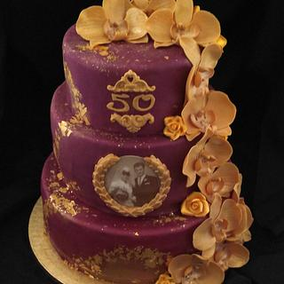 50th Weddingday - Gold Wedding Cake