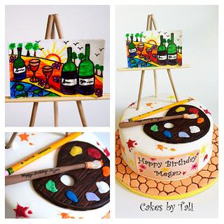 Painting and wine cake