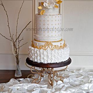Vintage Gold Wedding Cake - Cake by Shannon Bond Cake Design